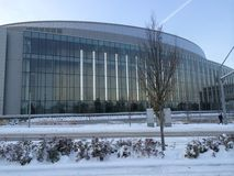 Matthew Knight Arena at the University of Oregon i. Matthew Knight Arena is vacant during a winter snow storm. Life in Eugene essentially stops when it snows Stock Images