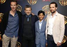 Matthew Rhy, Benedict Cumberbatch, Rohan Chand και Andy Serkis Στοκ Εικόνες