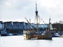 The Matthew Sailling boat replica. The Matthew Sailing boat replica on the river Stock Photo