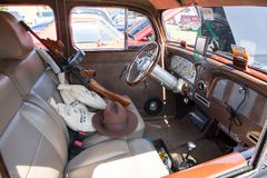 1936 Packard Interior. MATTHEWS, NC - September 4, 2017:  Customized interior of a 1936 Packard on display at the Matthews Auto Reunion & Motorcycle Show Stock Photography
