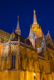 Matthias Church at Buda Castle in Budapest, Hungary at Night Stock Photography