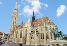 Matthias Church, Buda Castle in Budapest and tourists Royalty Free Stock Photo