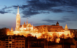 Matthias Church and Fisherman's Bastion over the Danube river at Royalty Free Stock Photography