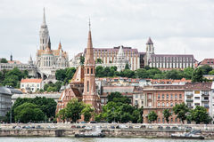 Matthias church, Fishermans bastion and Calvinist church in Buda Stock Image