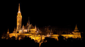 Matthias Church and the Fishermen's Bastion. In Budapest at night Stock Image
