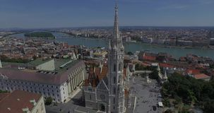 The Matthias Church and the Fishermen's Bastion (AERIAL) stock video footage
