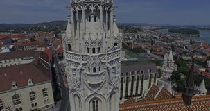The Matthias Church and the Fishermen's Bastion (AERIAL) stock footage