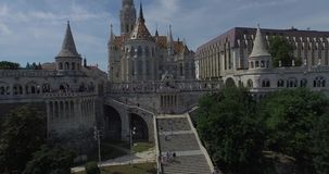 The Matthias Church and the Fishermen's Bastion (AERIAL) stock video