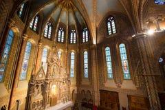 Matthias Church Interior - Budapest, Ungern Arkivfoto
