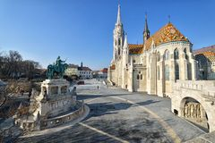 Matthias Church and King Saint Stephen statue. At the Fisherman's Bastion Area in Budapest, Hungary royalty free stock photos