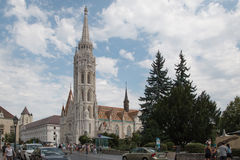Matthias Church. Located in Budapest, Hungary, in front of the Fisherman`s Bastion at the heart of Buda`s Castle District Royalty Free Stock Photos