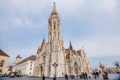 Matthias Church located in front of the Fisherman`s Bastion in B royalty free stock image