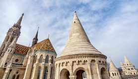 Matthias Church located in front of the Fisherman`s Bastion in B stock images
