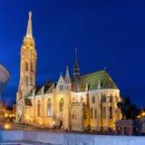 Matthias Church nell'ora blu, Budapest, Ungheria Fotografia Stock Libera da Diritti