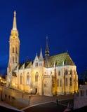 Matthias Church nella sera, Budapest, Ungheria Fotografia Stock