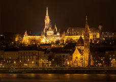 Matthias Church and Protestant church in Budapest Stock Photos