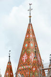 Matthias Church roof (Budapest, Hungary). Mosaic on Matthias Church roof, Budapest, Hungary Royalty Free Stock Images