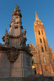 Matthias Church and the Trinity statue in Budapest Royalty Free Stock Images