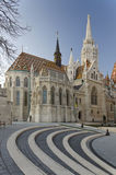 Matthias Church with walk cobblestone steps at foreground Royalty Free Stock Photos