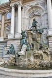 Matthias fontanna w północnego zachodu podwórzu Royal Palace Budapest, Węgry Zdjęcie Royalty Free