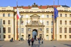 Matthias Gate with tourists walking royalty free stock photos