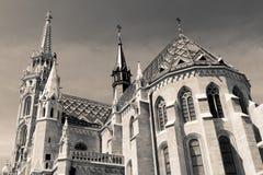 Matthias-Kirche (einfarbig), Budapest stockfoto