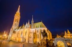 Matthias kościół, sławny punkt zwrotny w Budapest, Węgry nocą Zdjęcie Stock