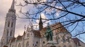 Matthias kościół w Budapest, statua St Stephen Węgry zbiory wideo
