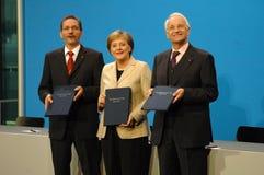 Matthias Platzeck, Angela Merkel, Edmund Stoiber Stock Photos