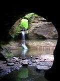 Matthiessen State Park. This is a waterfall as viewed from a cave in Matthiessen State Park, Illinois Stock Images