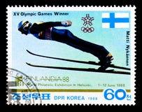 Matti Nykanen, ` internacional 88 da exposição FINLANDIA do selo Imagens de Stock Royalty Free