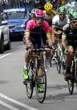 Mattia Cattaneo of Lampre-Merida Team. Rides during the Tour of Catalonia cycling race through the streets of Monjuich mountain in Barcelona on March 29, 2015 Royalty Free Stock Photo