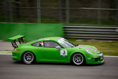 Mattia Drudi Porsche 911 Cup at Monza. Dinamic Motorsport Team is testing his Porsche 911 (997) GT3 Cup that will compete in the Porsche Carrera Cup Italia 2016 Royalty Free Stock Images
