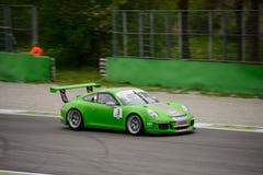 Mattia Drudi Porsche 911 Cup at Monza. Dinamic Motorsport Team is testing his Porsche 911 (997) GT3 Cup that will compete in the Porsche Carrera Cup Italia 2016 Stock Photos
