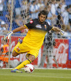 Mattia Perin of Genoa CFC. In action during a friendly match against RCD Espanyol at the Estadi Cornella on August 17, 2014 in Barcelona, Spain Royalty Free Stock Images