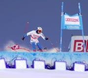 Mattias Hargin skiing at a slalom event Royalty Free Stock Photos