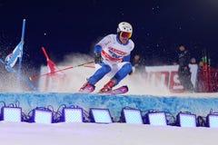 Mattias Hargin skiing at a slalom event Stock Photo