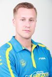 Mattias Karlsson from Sweden Smilling. In a studio photoshoot. Qualifications Group at the World table tennis championships in Dusseldorf. 29 May 6 june 2017 Stock Photos