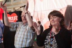Mattie mc Grath and Caroline Simons (2). Mattie Mc Grath,one of the TDs that lost is seat for opposition of the Abortion Bill with Caroline Simons of the Pro stock image