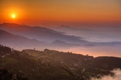 Mattina al punto di vista di Sarangkot vicino a Pokhara nel Nepal Fotografia Stock