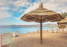 Mattina alla spiaggia pubblica centrale in Eilat Immagine Stock