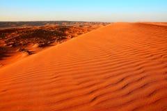 Mattina alle sabbie di Wahiba nell'Oman Fotografia Stock