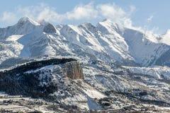 Mattina in anticipo di inverno sulla montagna di Chapeau de Napoleon, alpi, Francia Fotografia Stock Libera da Diritti