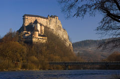 Mattina del castello di Orava Fotografia Stock