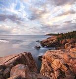 Mattina del litorale di Acadia immagine stock libera da diritti