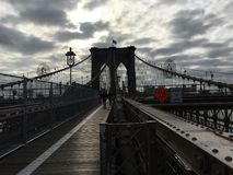 Mattina del ponte di Brooklyn Fotografia Stock