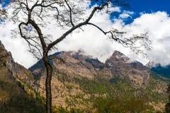 Mattina della natura delle montagne dei paesaggi nell'ambito del punto di vista tre Fondo del paesaggio di trekking della montagn Fotografia Stock Libera da Diritti