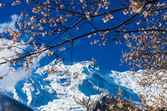 Mattina della natura delle montagne dei paesaggi nell'ambito del punto di vista tre Fondo del paesaggio di trekking della montagn Immagine Stock Libera da Diritti
