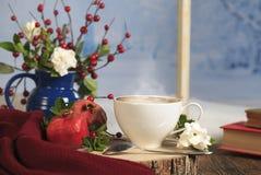 Mattina di inverno del caffè immagini stock