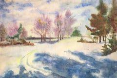 Mattina di inverno dell'acquerello fotografie stock libere da diritti